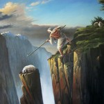 painting of the Good Shepherd finding the lost sheep by North Carolina artist, Jeremy sams