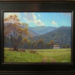 landscape painting of Valle Crucis farm in autumn with mountains by North Carolina artist Jeremy Sams