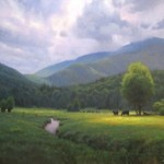 Painting of cows in the field below Celo Mountain before a rain storm by North Carolina artist Jeremy Sams