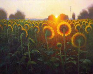 painting of sunflowers at sunrise near Salisbury, North Carolina by North Carolina artist Jeremy Sams