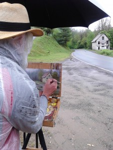 plein air painting in rain near Burnsville, NC