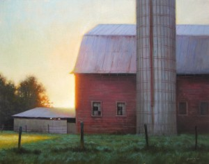 Painting of barn farm in the morning with sunrise by North Carolina artist Jeremy Sams