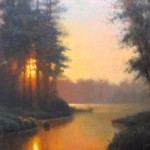 Original acrylic landscape painting of a sunset illuminating a river by North Carolina artist Jeremy Sams