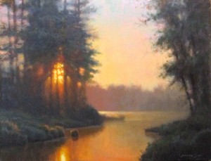 Original acrylic landscape painting of a sunset illuminating a river by North Carolina artist Jeremy Sams