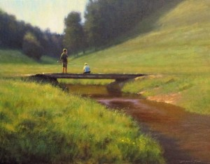 Original acrylic landscape painting of two boys fishing off a bridge in the mountains of North Carolina by Jeremy Sams