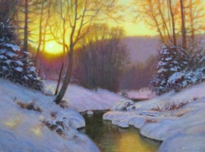 Original acrylic landscape painting of a sun setting over the mountains in the snow with a stream by North Carolina artist Jeremy Sams