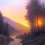 original acrylic painting of Appalachian Mountain sunset with creek by North Carolina artist, Jeremy Sams