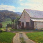 original painting of a white barn in Valle Crucis, in autumn by North Carolina artist Jeremy Sams