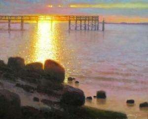 Southport pier sunrise painting by North Carolina artist Jeremy Sams