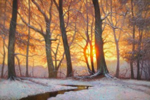 original painting of the sunset in snow with trees by North Carolina artist Jeremy Sams