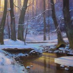 Winter snow landscape impressionist painting of creek by North Carolina artist Jeremy Sams