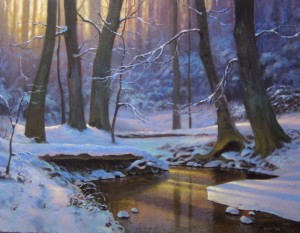 Winter snow landscape impressionist painting of creek by North Carolina artist Jeremy Sams