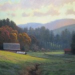 Acrylic painting of autumn farm with barns in valley with Blue Ridge Mountains by North Carolina artist Jeremy Sams