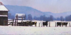 winter painting of snow on the farm in the mountains with cows by North Carolina artist, Jeremy Sams