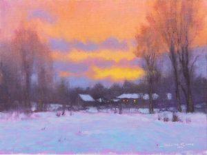 sunrise snow painting by North Carolina artist, Jeremy Sams