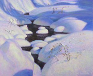 snow covered stream painting by North Carolina artist, Jeremy Sams