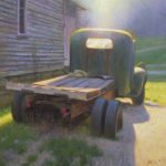painting of old truck with sunlight in Valle Crucis North Carolina by North Carolina artist Jeremy Sams