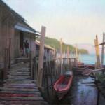 Painting of fishing docks in Kawthaung Myanmar by North Carolina artist Jeremy Sams
