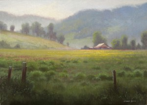 plein air meadow mountains in Burnsville, NC