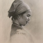 Charcoal portrait of Asian Lady