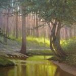 painting of Creekside Park in the evening