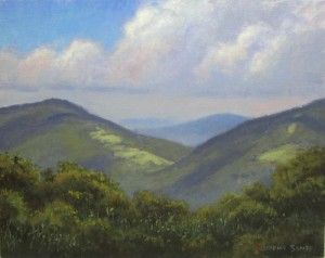 Plein air painting of a view looking south on Elk Knob, NC by North Carolina artist, Jeremy Sams