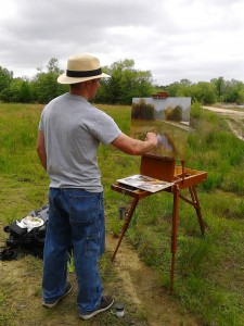 Jeremy painting en plein air