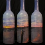 nc beach sunrise wine bottle art