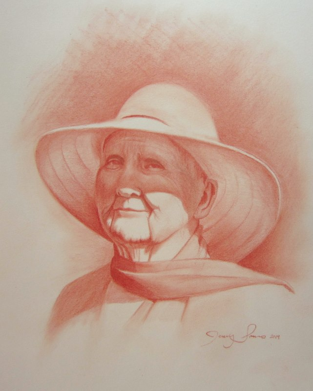 Pastel Chalk Portrait of elder lady