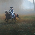 hand painted portrait of patriot and horse by North Carolina artist, Jeremy Sams