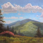 painting of rhododendrons on roan mountain by North Carolina artist Jeremy Sams