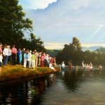 painting of Cane River revival baptism by North Carolina artist, Jeremy Sams