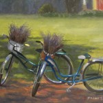 Sunshine farm Lavender Garden plein air painting of bicycles with baskets of lavender
