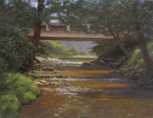 plein air painting of Boone Fork Creek