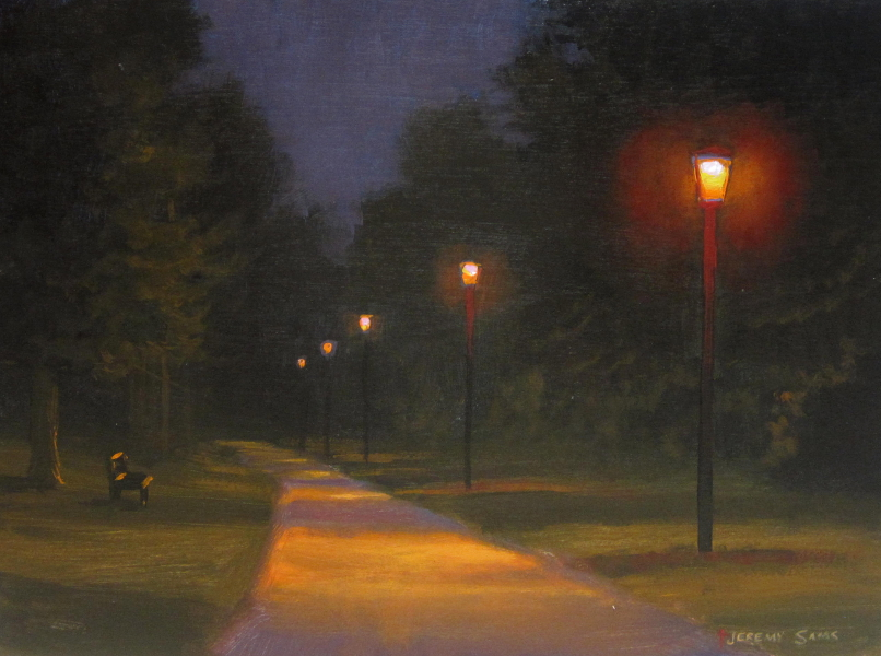 Creekside Park Nocturne Painting Jeremy Sams Art