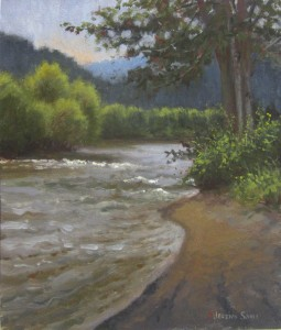 plein air painting of the New River at Todd, NC