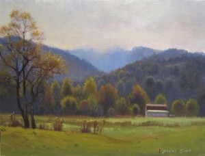 Plein air painting of a farm in Valle Crucis in the fall.