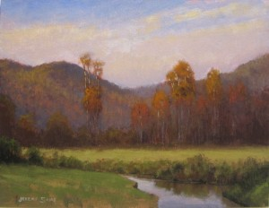 Plein air painting looking across Dutch Creek at the fall colors in Valle Crucis, NC, by North Cartolina artist, Jeremy Sams.