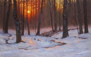 evening snow painting by North Carolina artist, Jeremy Sams