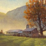 Plein air painting of a barn in the morning fog in Fleetwood, NC by North carolina artist, Jeremy Sams