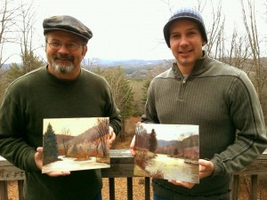 My and Bernie's finished plein air paintings.