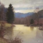 Winter scene of the New River in Todd, NC
