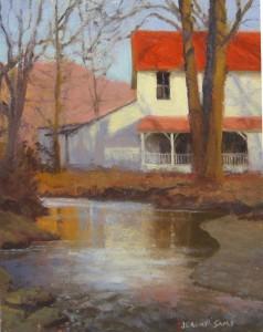 plein air painting of Mast General Store, Valle Crucis, NC by North Carolina artist, Jeremy Sams