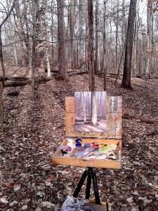 Painting en plein air in the woods of Archdale, NC