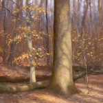 plein air painting of face-lit trees