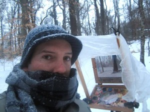 Jeremy Sams plein air in snow