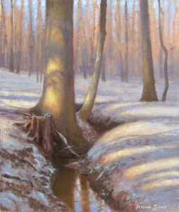 morning snow landscape plein air