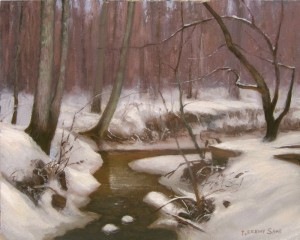 creek snow plein air painting