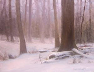 Snowfall in the Forest 8x10 acrylic en plein air