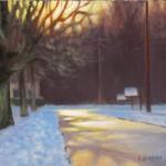 Evening Light on Hattie St. 6x8 acrylic en plein air